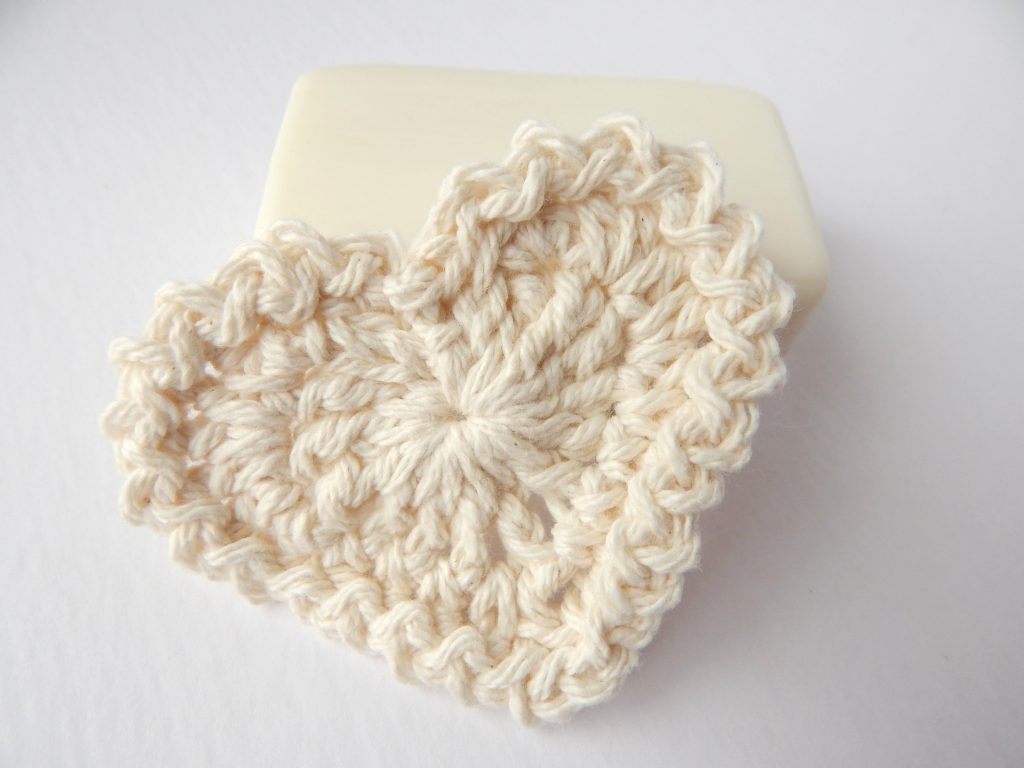 Cotton Crochet Heart Scrubby